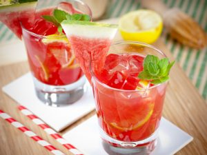 Freshly served watermelon mojito cocktails